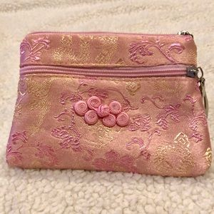"Pink floral design bag / wallet LN 3.8""x5"""